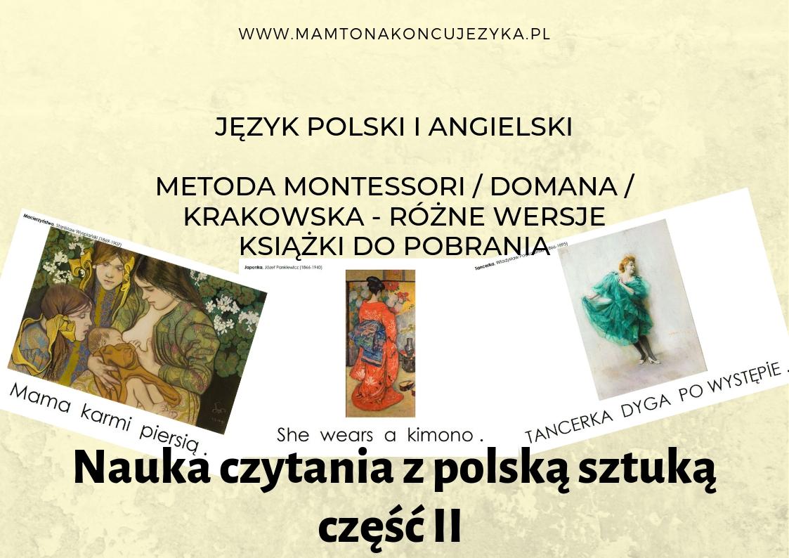 Książka do nauki czytania - metoda Domana / Krakowska / Montessori - różne wersje i języki do pobrania