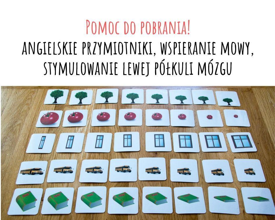 Free printable - ćwiczymy angielskie przymiotniki opisujące wielkość. Lewa półkula mózgu w nauce języków.