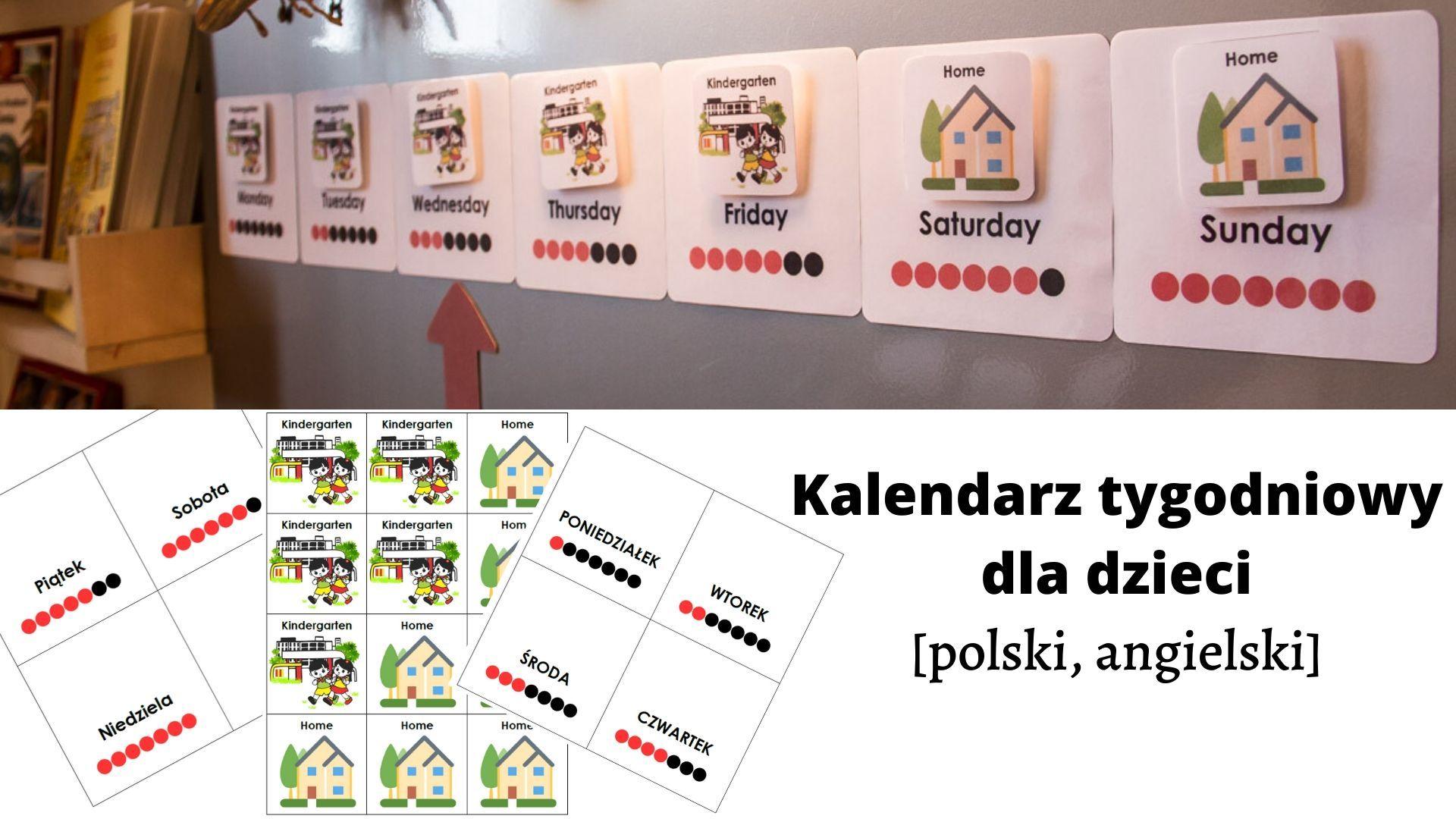 Nazwy dni tygodnia po angielsku i polsku - kalendarz kołowy do pobrania
