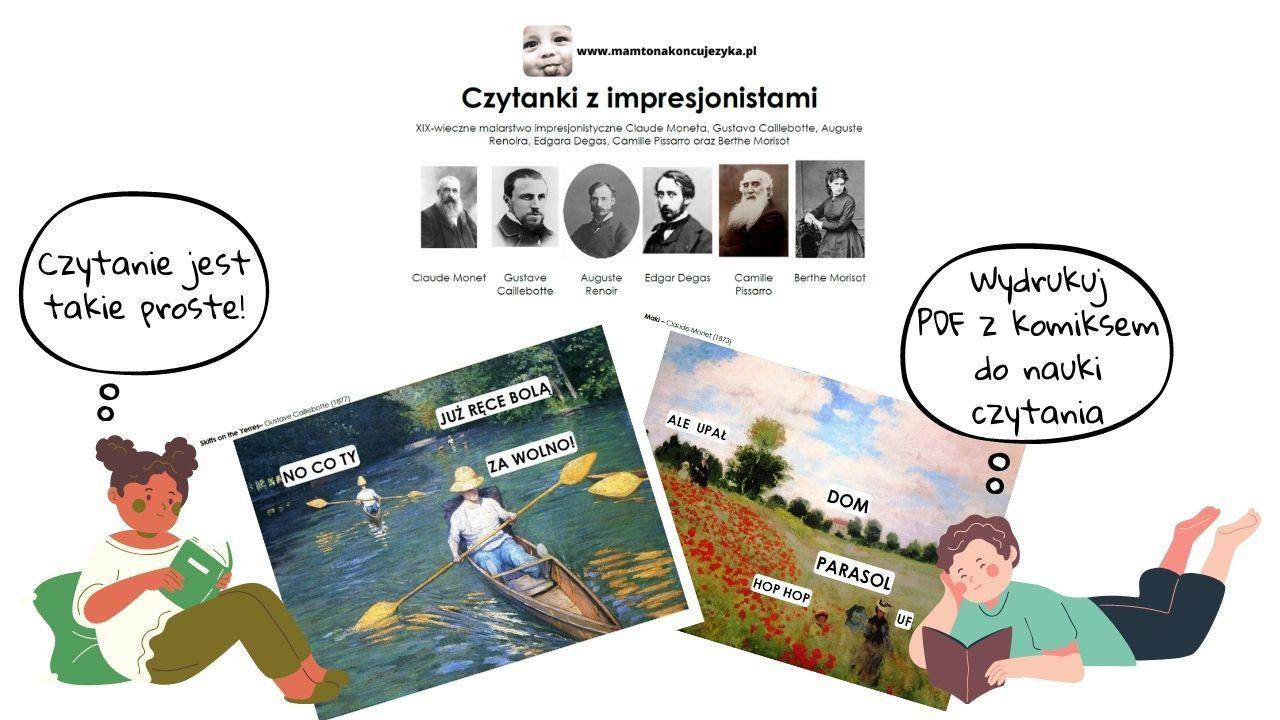[do pobrania] Komiks do nauki czytania - dzieła wielkich impresjonistów w dwóch wersjach czcionek